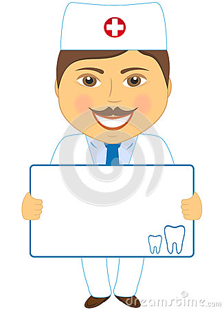 Smile dentist with poster and tooth