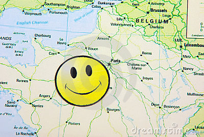 Smile face on a map