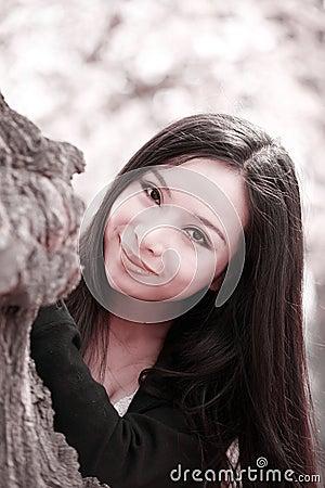 Smile girl in spring