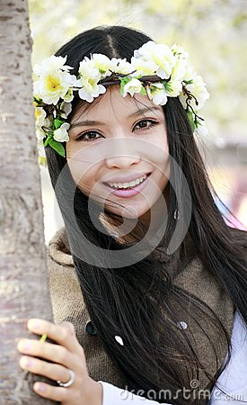 Smile girl in spring