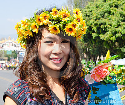 Smile of Lady in Chiangmai Flower Festival 36th. Editorial Image
