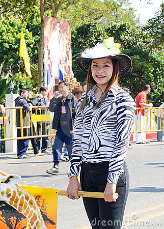 Smile of Lady in Chiangmai Flower Festival 36th. Editorial Photography