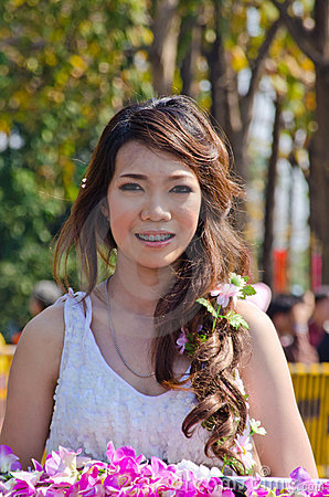 Smile of Lady in Chiangmai Flower Festival 36th. Editorial Photo