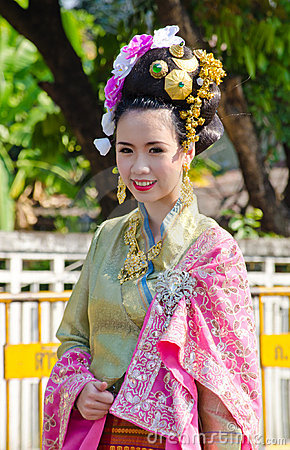 Smile of Lady in Chiangmai Flower Festival 36th. Editorial Stock Image