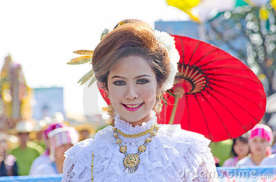 Smile of Lady in Chiangmai Flower Festival 36th. Editorial Stock Photo
