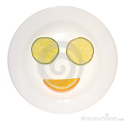 Smile from a lime and orange
