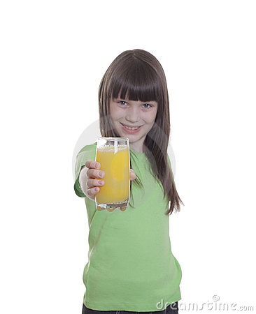 The smile little girl with orange juice