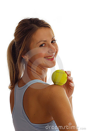 Free Smile Sports Girl With Tennis Ball Royalty Free Stock Photography - 4455667