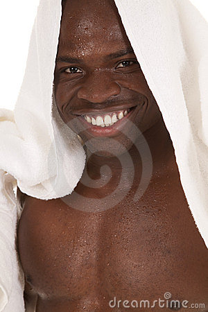 Smile with towel on head