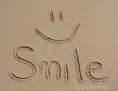 Smile Written In The Sand Stock Photos Image 14348383