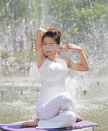 A smile of yoga girl
