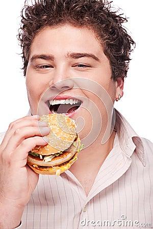 Smiled chubby and hamburger