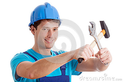 Smiled handy man