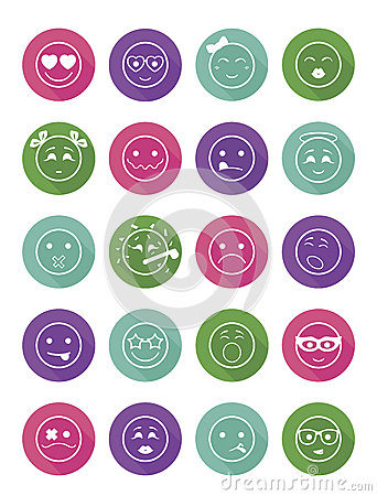 Free Smiles Icons Set Child Girls And Boys Royalty Free Stock Photos - 65761208