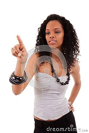 Smiley black woman touching something