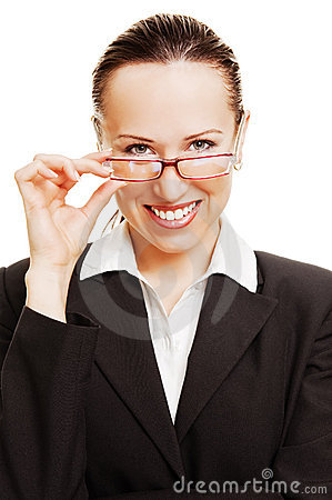Smiley business lady holding her glasses