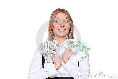 Smiley businesswoman holding paper money