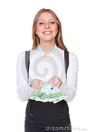 Smiley businesswoman looking at camera
