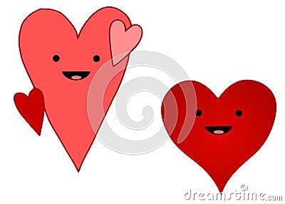 Smiley Cartoon Hearts