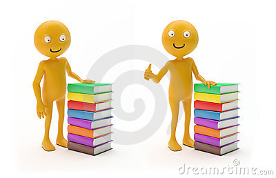 Smiley character with books