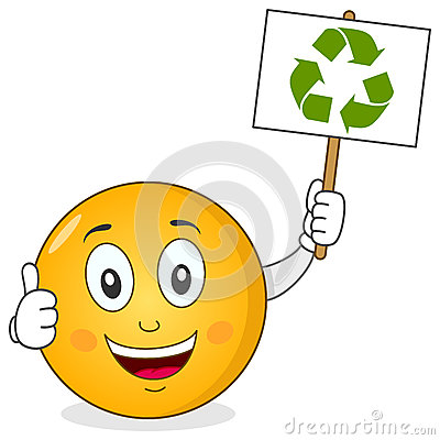 Smiley Character Holding Recycle Sign
