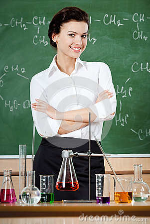 Smiley chemistry teacher