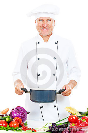 Smiley cook holding saucepan