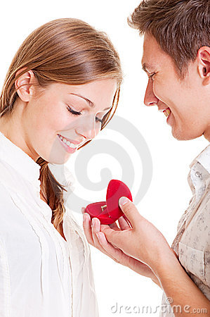 Smiley couple with ring
