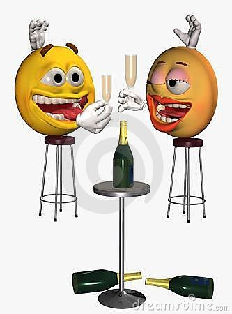 Smiley face couple drinking