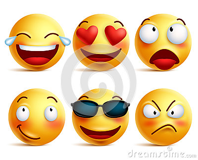 Smiley face icons or yellow emoticons with emotional funny faces Vector Illustration