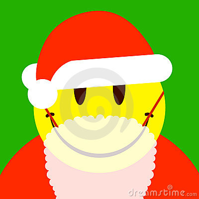 Smiley face santa with attached beard