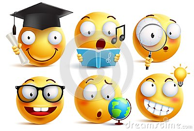 Smiley face student vector emoticons set with facial expressions Vector Illustration