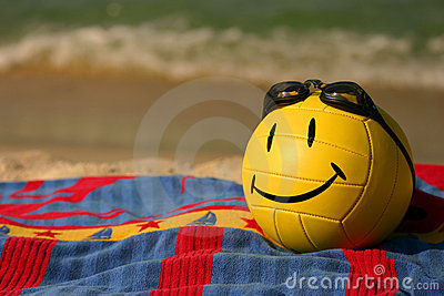 Smiley Faced Volleyball With Swim Goggles