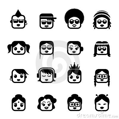 Smiley faces women characters