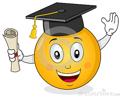 Smiley with Graduation Hat & Diploma