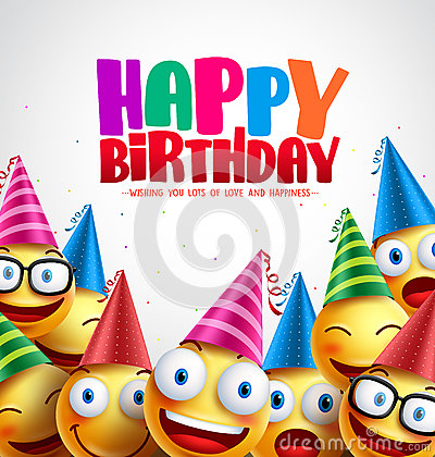 Smiley happy birthday greeting card colorful vector background Vector Illustration