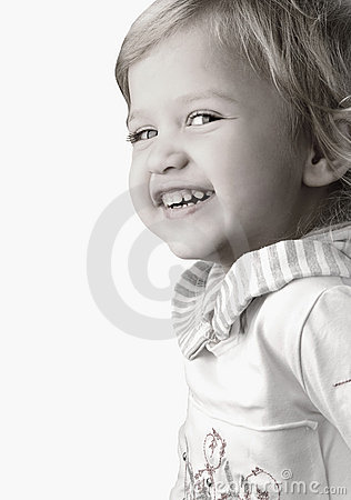 Smiley happy little girl close-up
