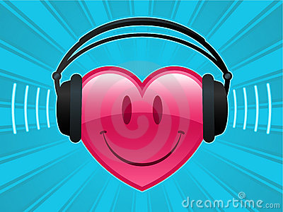 Smiley heart with headphones