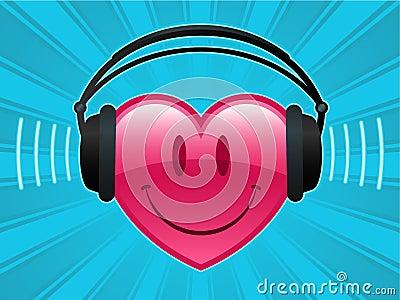 Smiley heart with headphones