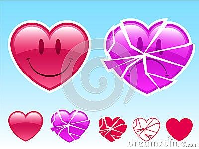 Smiley heart and sad heart
