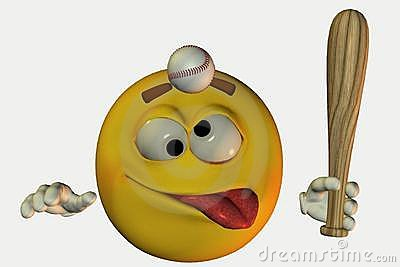 Smiley hit with baseball
