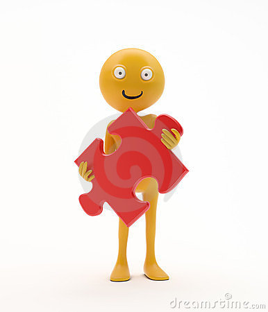 Smiley holding a jigsaw puzzle
