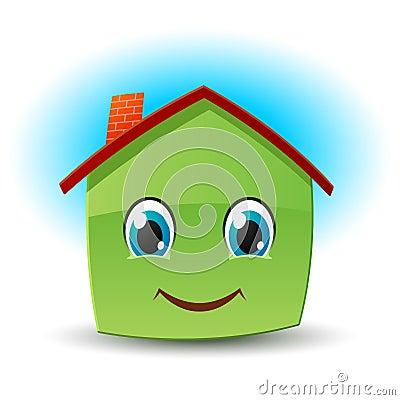 Smiley house. Vector icon