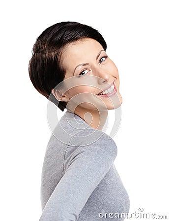 Smiley joyful woman