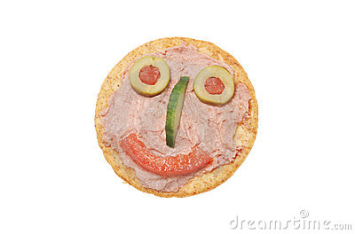 Smiley pate and biscuit face