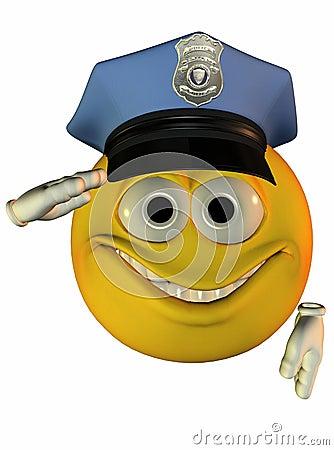 Smiley policeman saluting