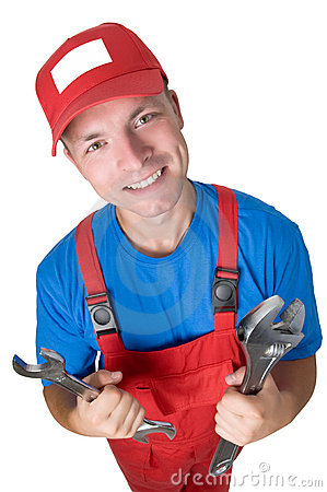 Smiley repairman with spanners