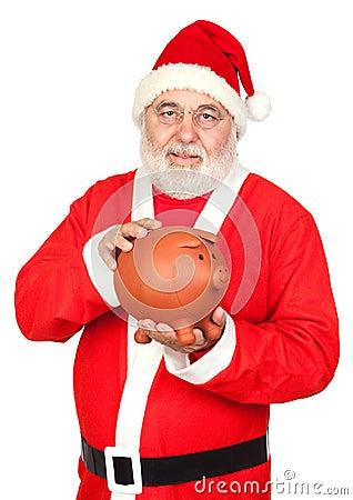 Smiley Santa Claus with piggy-bank