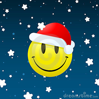 Smiley santa on snowing background
