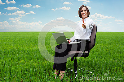 Smiley secretary on the field showing thumbs up